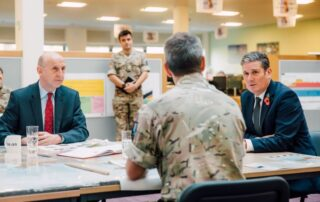John Healey MP and Keir Starmer visiting HQ Standing Joint Command Aldershot