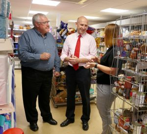 John Healey, John Marren and Natalie Brown at Community Shop Goldthorpe