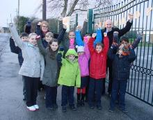 john healey mp, headteacher linda davis and members of the school council and road safety council celebrating winning a campaign to lower the speed limit outside ravenfield prima - copy_be