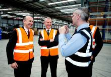 john healey mp, liam rafferty, mark taylor and dave baker inside aldi's goldthorpe distribution centre (2) - copy_be