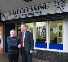 stephen jones and john healey mp outside stephen hairdressing in swinton (1) - copy_be